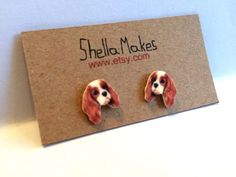 Dog stud earrings, King Charles Spaniel, animal jewellery, silver plated stud earrings by ShellaMakes on Etsy