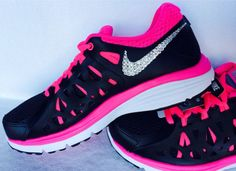 Nike Dual Fusion tennis shoes in Black/Pink/White with Swarovski crystal detail Nike Shoes For Sale, Nike Shoes Cheap, Nike Free Shoes, Nike Shoes Outlet, Running Shoes Nike, Cheap Nike, Nike Outfits, Fall Outfits, Design Nike