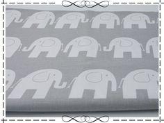 Stoffe gemustert - Baumwolle, weiße Elefanten auf grau - ein Designerstück von imagine-shop bei DaWanda