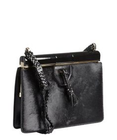 style #320315401 black pony hair and leather frame top shoulder bag