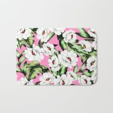 White Spring Flowers Bath Mat