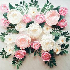 Paper flower wall display. Girl nursery wall by KatyaPaperie