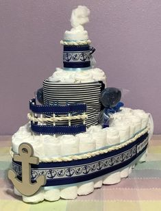 Nautical Diaper Cake, Boat Diaper Cake, Baby Boy Diaper Cake, Boat Shaped Diaper Cake, Baby Shower C - Cake Recipes Strawberry Ideen