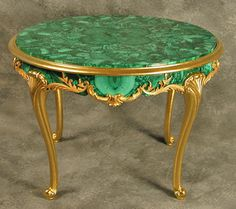 Louis XV style malachite low table with carved giltwood legs and gallery. The malachite skirt is dressed with gilt metal mounts and the top is centered by a malachite floral design - Beauty will save French Furniture, Miniature Furniture, Furniture Making, Antique Furniture, Furniture Styles, Furniture Design, Low Tables, Green Rooms, Carving