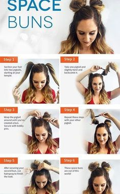 Check out our collection of easy hairstyles step by step diy. You will get hairstyles step by step tutorials, easy hairstyles quick lazy girl hair hacks, easy hairstyles step by step quick & easy hairstyles for work long lazy girl messy buns. Space Buns Hair, Medium Hair Styles, Curly Hair Styles, Hair Medium, Medium Long, Short Styles, Medium Brown, Trendy Hairstyles, Wedding Hairstyles