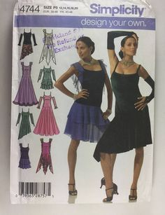 a939fd3ed Simplicity 4744 Misses' Salsa, Latin or Ballroom Dance Design Your Own Dress  Pattern Sizes 12,14,16,18,20 uncut