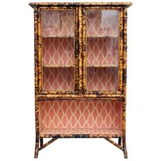 Merveilleux Antique Tiger Bamboo Glass Fronted Display Cabinet With Vintage Wallpaper |  From A Unique Collection Of Antique And Modern Cabinets At ...