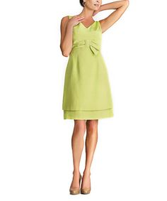 Loving this Lime Bow Sleeveless Dress on #zulily! #zulilyfinds