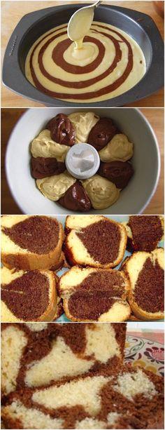 BOLO MÁRMORE,FÁCIL DE FAZER E FICA SUPER FOFINHO!! VEJA AQUI>>>Unte e enfarinhe uma fôrma de furo central (24 cm de diâmetro) e reserve. 2. Preaqueça o forno em temperatura média (180º C) #receita#bolo#torta#doce#sobremesa#aniversario#pudim#mousse#pave#Cheesecake#chocolate#confeitaria My Recipes, Sweet Recipes, Cake Recipes, Cake Cookies, Cupcake Cakes, Cupcakes, Strawberry Roll Cake, Delicious Desserts, Cake Decorating