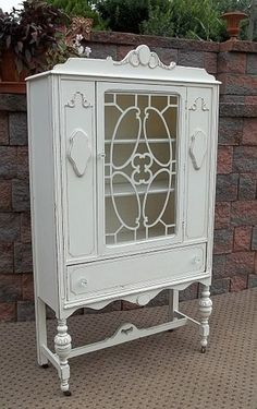 Shabby French White Chic China Closet Bathroom Cupboard Display Linen Cabinet