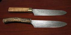 John Hounslow Robinson Kitchen / Utility Knives - Pattern Welded steels made from up cycled materials.
