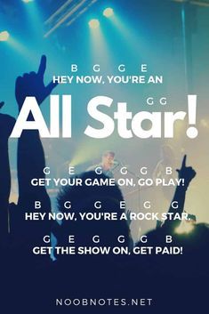 "Released in ""All Star"" is a popular catchy pop-rock track that everyone will have heard – it's been featured in the film Rat Race and throughout the Shrek series. It's simple, repetitive…More Popular Piano Sheet Music, Piano Sheet Music Letters, Clarinet Sheet Music, Easy Piano Sheet Music, Music Chords, Piano Music Notes, Ukulele Songs, Music Music, Ukulele Tabs"