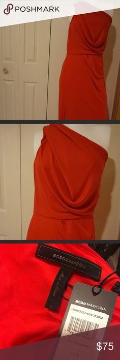 BCBG RED HIGH SLIT DRESS NWT RETAILS FOR $298  BCBG RED HIGH SLIT DRESS NWT RETAILS FOR $298. Show stopping dress! BCBG Dresses One Shoulder