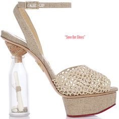 charlotte olympia 'save our shoes' heel with crochet and message in a bottle heel, courtesy of @ShoeRazzi #shoeporn