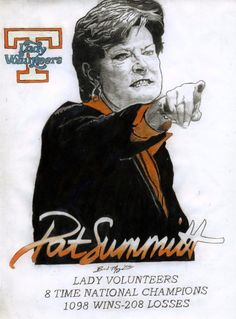 Pat Summitt, former coach of the Tennessee Lady Vols basketball team, and one of the BEST EVER college basketball coaches!  Coach Summitt, for whom the basketball court at the University of Tennessee is named, was forced to step down by a diagnosis of early-onset alzheimers disease.  Such a loss to college basketball!