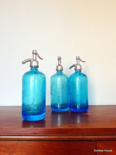 Vintage Seltzer Bottle - Light Blue Glass - Siphon - I have one packed away - was my parents.  I love it!