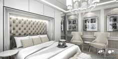 Glamours bedroom. Luxury interior design.