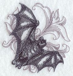 Baroque Bat in Flight Embroidered Terry Kitchen or Hand Towel | VelvetHearts - Housewares on ArtFire