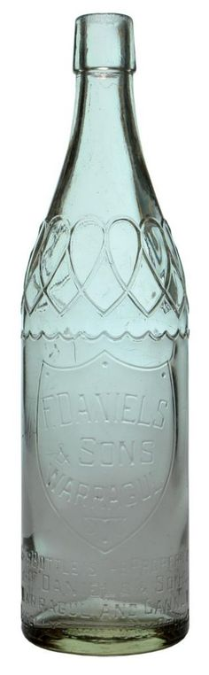 F. Daniels & Sons Warragul. Fancy pattern to shoulder. c1930s-1940s vintage Cordial bottle.