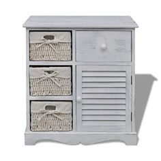 Anself Wooden Cabinet with 3 Left Weaving Baskets White - Garden Rattan Furniture Wooden Cabinets, Storage Cabinets, Storage Drawers, White Cabinets, Chest Of Drawers, Storage Spaces, Armoire, Rattan Basket, Home Additions