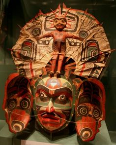 """""""Sun Transformation Mask"""" from """"Listening To Our Ancestors - The Art of Native Life Along The North Pacific Coast"""" shown at the Smithsonian National Museum of the American Indian 2006 in Washington, DC."""