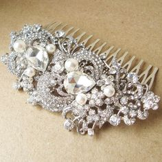Vintage Style Bridal Hair Comb Victorian Art Deco by luxedeluxe, $65.00