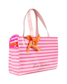 dc6bed8b4a3d1d Neon stripe shopper bag with flip flops - TELLEY by Ted Baker Striped Tote  Bags
