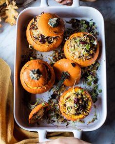 Wild rice stuffed mini pumpkins by @crateandbarrel