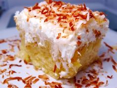 Pineapple Coconut Cake - want to make this I love coconut AND pineapple!!