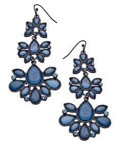 Blu Bijoux Gunmetal and Metallic Blue Teardrop Chandelier Earrings