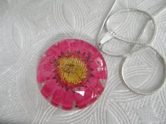 Pink Daisy Round Glass Pressed Flower Pendant by giftforallseasons