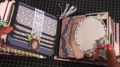 Shabby chic mini album swap with Crafty  Malika use cameo and lace to close a waterfall or opening