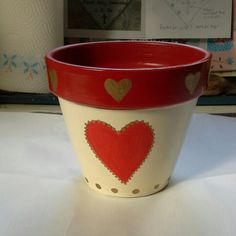 Painted flower pot.