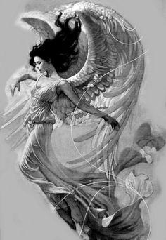 angel woman Tattoo idea