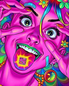 ART psicodélica LSD ILUSTRAÇÃO Imagens para papel de parede Lsd Trippy Drawings, Psychedelic Drawings, Art Drawings, Psychedelic Artists, Trippy Pictures, Psychadelic Art, Dope Cartoon Art, Trippy Painting, Garage Art