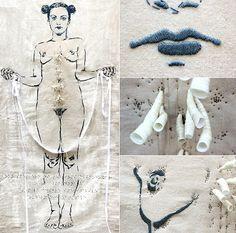 CORPORE-MEDENDO Ileria Magutti embroidery Embroidery Art, Cross Stitch Embroidery, Machine Embroidery, Fibre And Fabric, Textile Fiber Art, Thread Art, Feminist Art, Sewing Art, Fabric Art