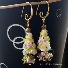"""boucles d'oreilles, perle au chalumeau """"Botanique 7"""" de la boutique AuxPetitsArtistes2 sur Etsy"""