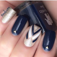 Blue and nude nails