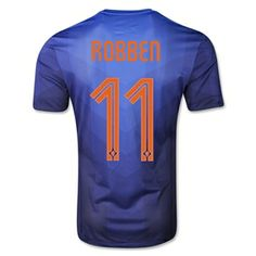 Netherlands 2014 ROBBEN Authentic Away Soccer Jersey - WorldSoccerShop.com