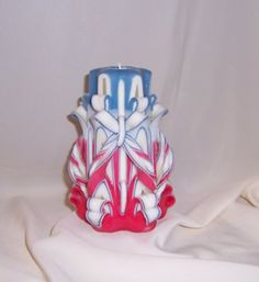 Red white and blue candle# carved candle