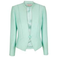 Jacques Vert Julep Stand Collar Jacket, Cordial ($49) ❤ liked on Polyvore featuring outerwear, jackets, blazers, tops, casacos, green blazer, jacques vert, green blazer jacket, green jacket and collar jacket