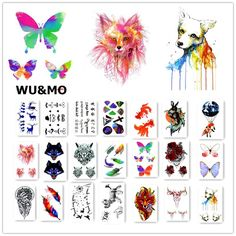 7736a54681c76 Colorful Flower Animals Dogs Body Art Sexy Harajuku Waterproof Temporary  Tattoo For Man Woman Henna Fake Flash Tattoo Stickers-in Temporary Tattoos  from ...