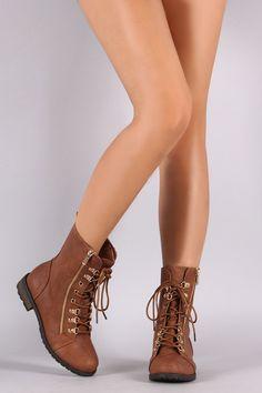 Zipper Detail Vegan Leather Combat Boots