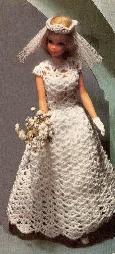 Barbie Crochet Dress Patterns | Bridal Pattern, Fashion Doll Crochet Dress, Barbie Doll Gown Veil ...