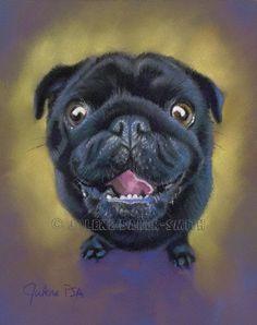 HALF OFF Black Pug Art Black Pug Drawing Comical by ArtByJulene