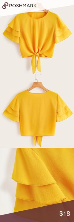 NWT Layered sleeve blouse Knot hem blouse Crop top style Regular fit Fabric has no stretch Polyester Tops Blouses Girls Fashion Clothes, Girl Outfits, Casual Outfits, Cute Outfits, Fashion Outfits, Business Casual Womens Fashion, Silk Kurti Designs, Crop Top Outfits, Indian Designer Outfits