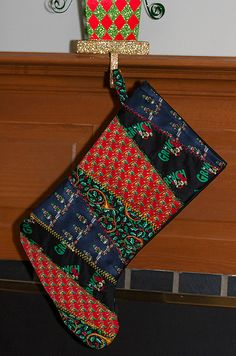 Quilted Christmas Stocking Recycled Neckties Embroidered Silk Ties Grinch Nutcracker Holly Sleigh., via Etsy.