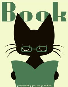 cat with glasses reading :)