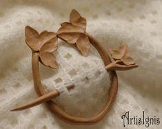 Ivy Shawl Pin or Hair Slide Handmade Alder Wood by ArtisIgnis, €25.00