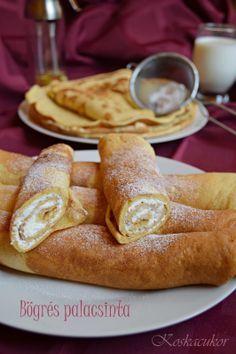 Bögrés palacsinta Hungarian Recipes, Hungarian Food, Cake Cookies, Hot Dog Buns, Cookie Recipes, French Toast, Food And Drink, Sweets, Cooking
